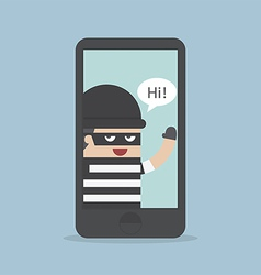 Hacker thief hacking smartphone business concept vector