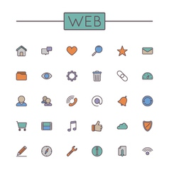 Colored web line icons vector