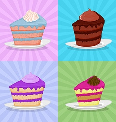 Set a piece of cake on a plate cake on a bright vector