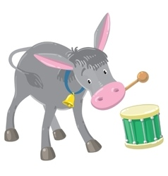 Funny gray drumming donkey vector