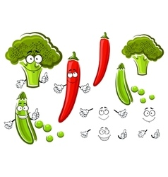 Green pea broccoli and chilli pepper vector