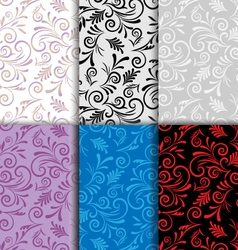 Set of seamless patterns curls vector