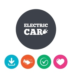 Electric car sign icon electric vehicle symbol vector