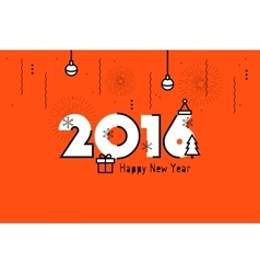 Happy new year 2016 text design flat vector