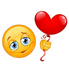 Emoticon with heart balloon vector