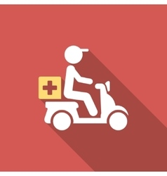 Drugs motorbike delivery flat square icon with vector