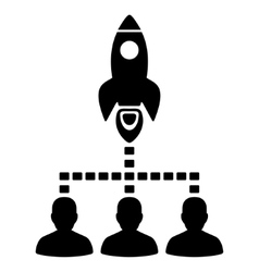Rocket space community flat icon vector