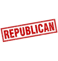 Republican red square grunge stamp on white vector