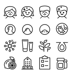 Acne icon set in thin line style vector