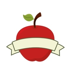 Apple ribbon fruit food icon graphic vector