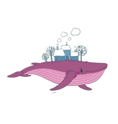 Big beautiful whale with houses and trees in the vector