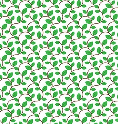 Brown curly branches with green leaves seamless vector