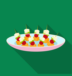 Canape on the plate icon in flat style isolated on vector