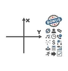 Cartesian axes flat icon with bonus vector
