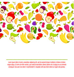 cartoon fruits background banner with vector image vector image
