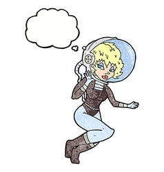 cartoon space woman with thought bubble vector image