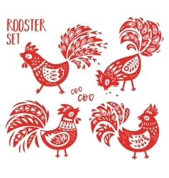 Chinese zodiac set of 2017 - red rooster new year vector
