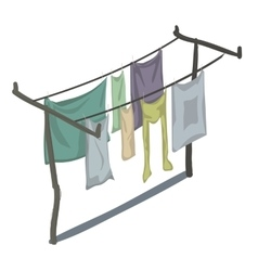 Clean clothes that are drying on line in rows vector