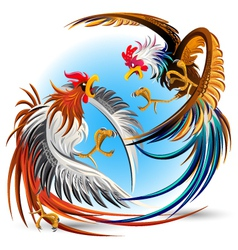 Cockfight Fighting Cocks vector image vector image