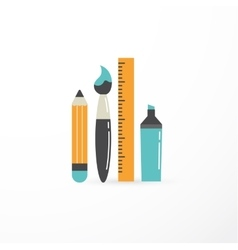 education creativity pen pencil brush vector image vector image