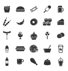fast food icons on white background vector image vector image