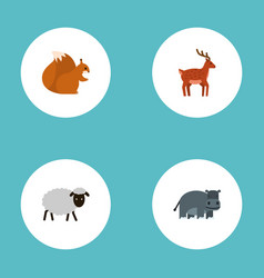 flat icons mutton hippopotamus moose and other vector image vector image