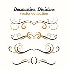 Flourish elements hand drawn dividers set vector