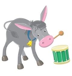 Funny gray drumming donkey vector