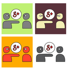 Google plus icons on background vector