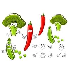 Green pea broccoli and chilli pepper vector