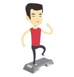 Man exercising on stepper vector