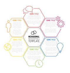 Modern hexagonal infographic report template made vector