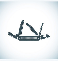 Multifunctional pocket knife icon flat design of vector