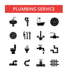 plumbing service thin line icons vector image