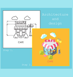 project cafe in flat and isometric style vector image