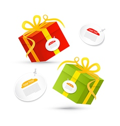 Red green present box gift box set vector