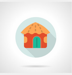 Red hawaiian hut flat round icon vector