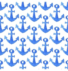 Seamless watercolor pattern with anchors on the vector image