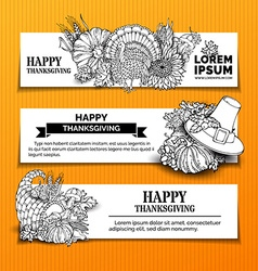 Set of doodles thanksgiving horizontal banners vector