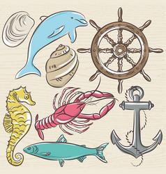 Set of summer symbols ship rudderanchor vector