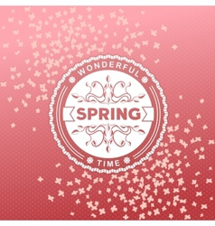 Spring retro label with flowers vector