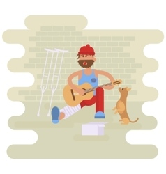 Strolling musician Homeless man vector image vector image
