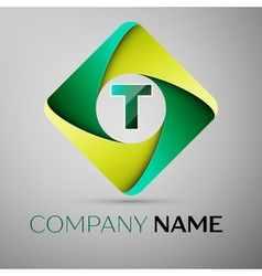 T letter colorful logo in the rhombus template for vector