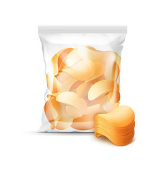 transparent plastic bag full of potato chips vector image