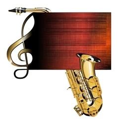 treble clef stave saxophone vector image