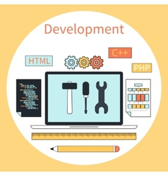 Web development instruments concept vector