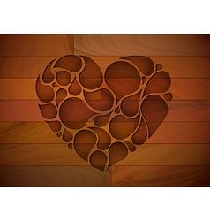 Wooden heart background vector