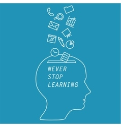 words - never stop learning vector image