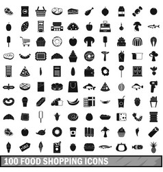 100 food shopping icons set simple style vector image vector image