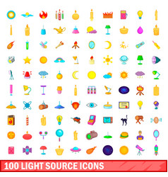 100 light source icons set cartoon style vector